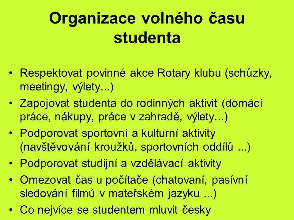 Organizace volného času studenta Respektovat povinné akce Rotary klubu (schůzky, meetingy, výlety...) Zapojovat studenta do rodinných aktivit (domácí