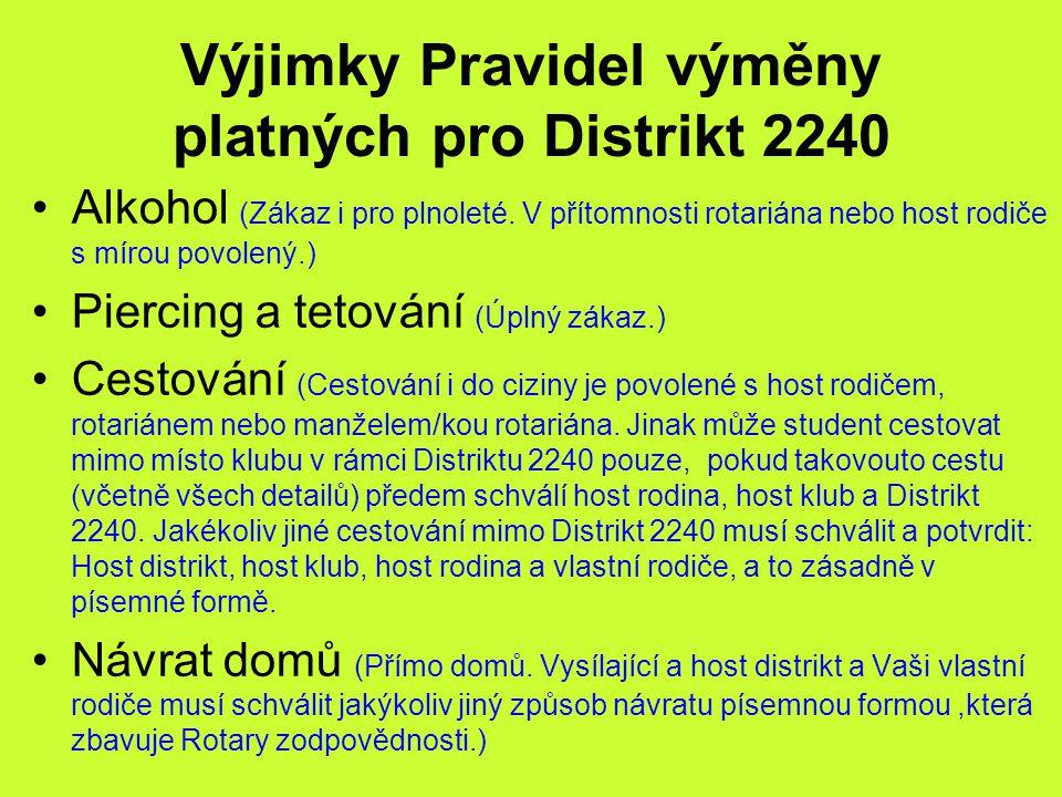 Výjimky Pravidel výměny platných pro Distrikt 2240 Alkohol (Zákaz i pro plnoleté. V přítomnosti rotariána nebo host rodiče s mírou povolený.) Piercing