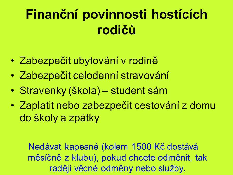 Finanční povinnosti hostících rodičů Zabezpečit ubytování v rodině Zabezpečit celodenní stravování Stravenky (škola) – student sám Zaplatit nebo zabez