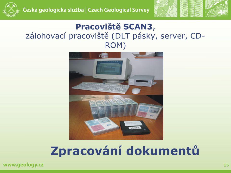 15 Pracoviště SCAN3, zálohovací pracoviště (DLT pásky, server, CD- ROM) Zpracování dokumentů