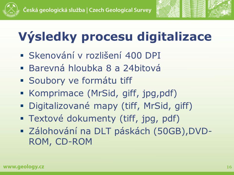 16 Výsledky procesu digitalizace  Skenování v rozlišení 400 DPI  Barevná hloubka 8 a 24bitová  Soubory ve formátu tiff  Komprimace (MrSid, giff, j
