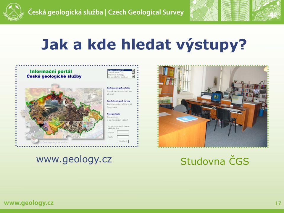 17 Jak a kde hledat výstupy? www.geology.cz Studovna ČGS