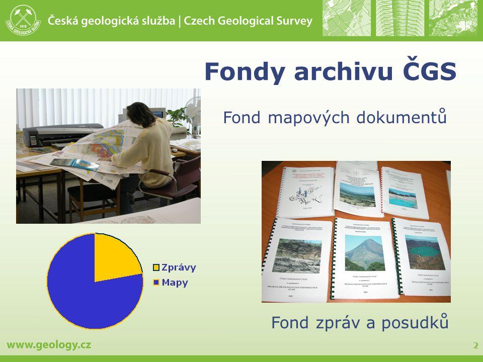 2 Fondy archivu ČGS Fond zpráv a posudků Fond mapových dokumentů