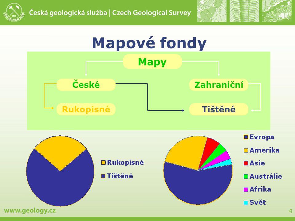 4 Mapové fondy Mapy ČeskéZahraniční RukopisnéTištěné