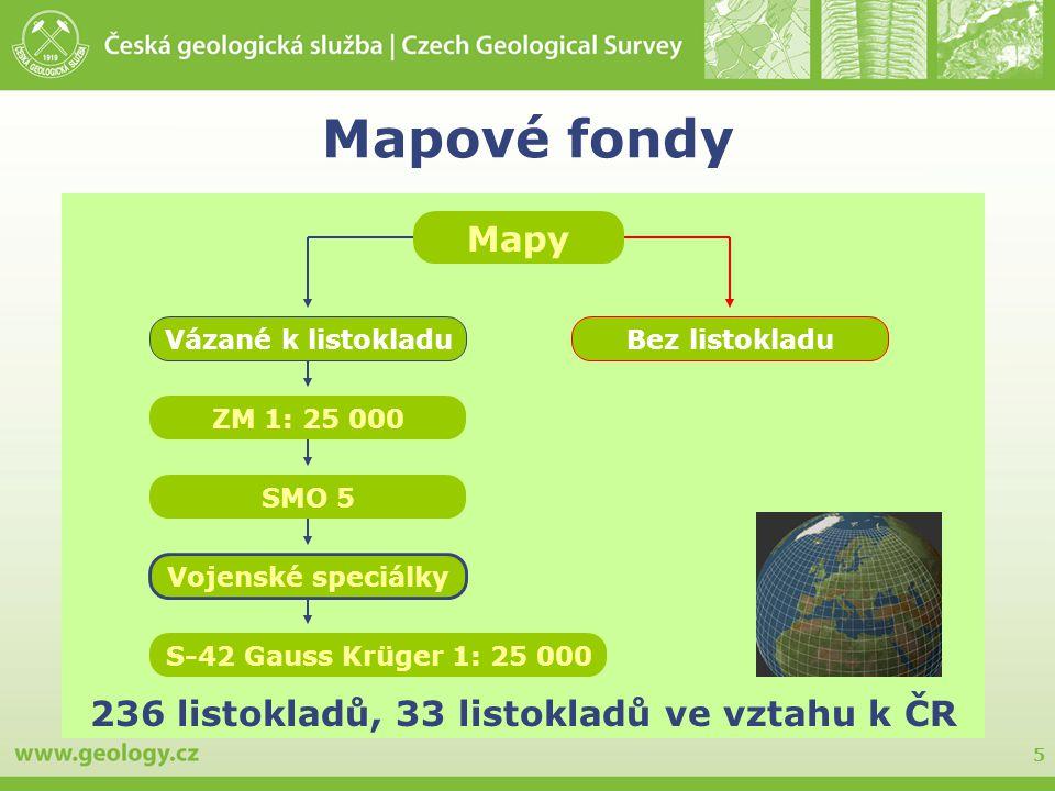 5 Mapové fondy 236 listokladů, 33 listokladů ve vztahu k ČR Mapy Vázané k listokladuBez listokladu ZM 1: 25 000 S-42 Gauss Krüger 1: 25 000 Vojenské s