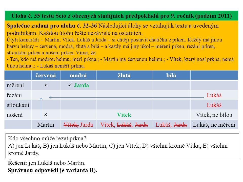 Úloha č. 35 testu Scio z obecných studijních předpokladů pro 9.
