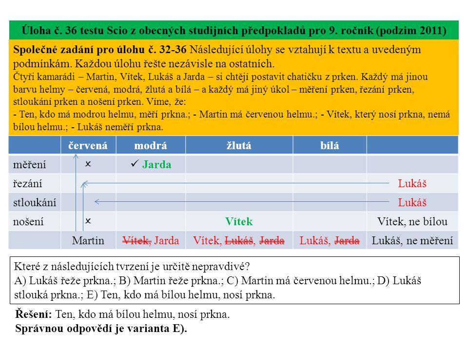Úloha č. 36 testu Scio z obecných studijních předpokladů pro 9.
