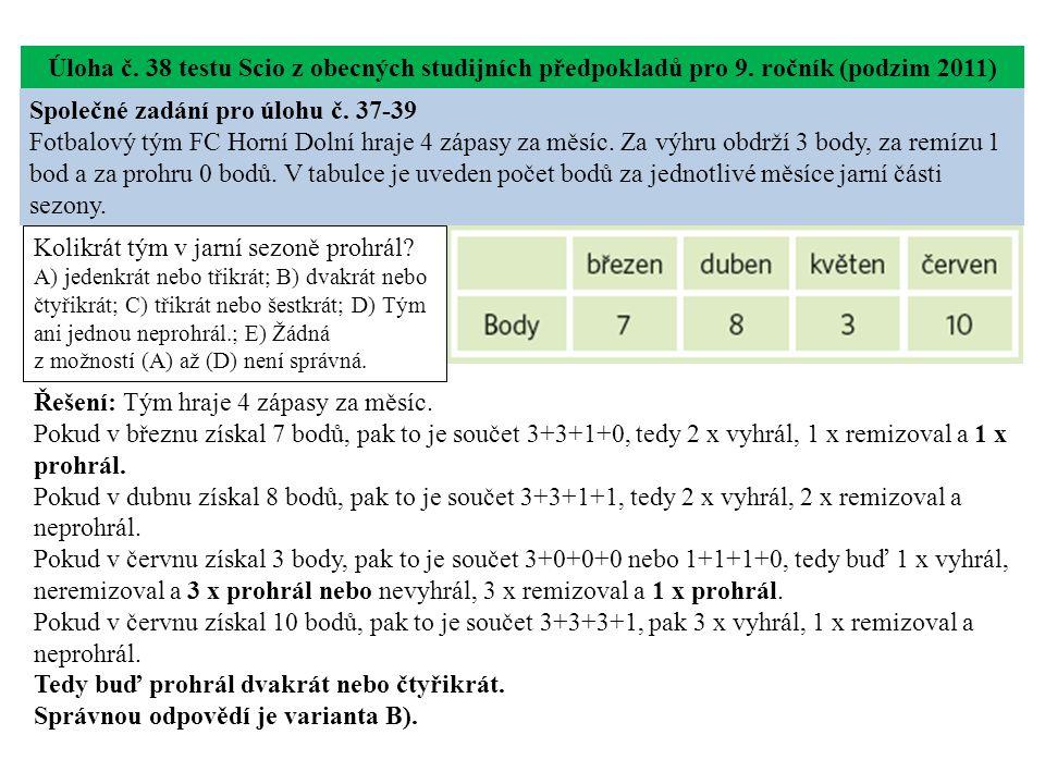 Úloha č. 38 testu Scio z obecných studijních předpokladů pro 9.
