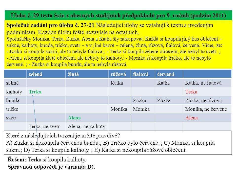 Úloha č. 29 testu Scio z obecných studijních předpokladů pro 9.