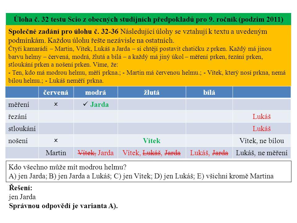 Úloha č.33 testu Scio z obecných studijních předpokladů pro 9.
