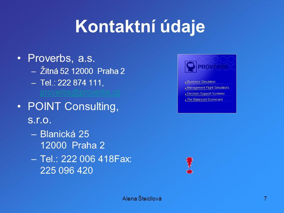 Alena Šteidlová7 Kontaktní údaje Proverbs, a.s.