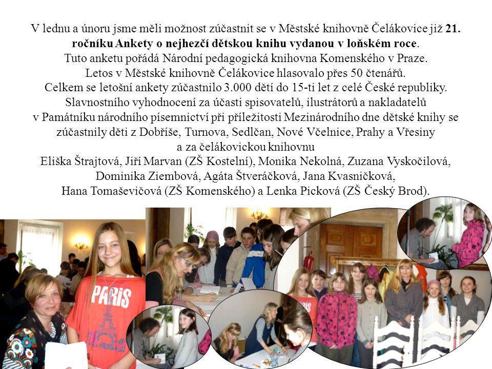 V lednu a únoru jsme měli možnost zúčastnit se v Městské knihovně Čelákovice již 21. ročníku Ankety o nejhezčí dětskou knihu vydanou v loňském roce. T