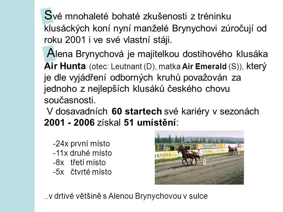 S vé mnohaleté bohaté zkušenosti z tréninku klusáckých koní nyní manželé Brynychovi zúročují od roku 2001 i ve své vlastní stáji.