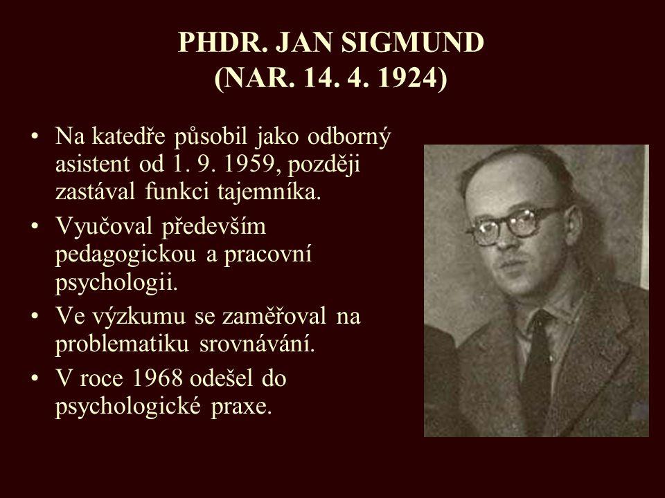 PHDR. JAN SIGMUND (NAR. 14. 4. 1924) Na katedře působil jako odborný asistent od 1. 9. 1959, později zastával funkci tajemníka. Vyučoval především ped
