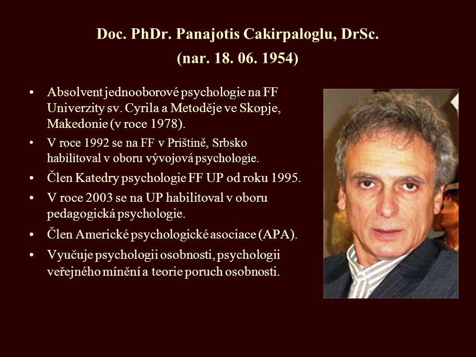 Doc. PhDr. Panajotis Cakirpaloglu, DrSc. (nar. 18. 06. 1954) Absolvent jednooborové psychologie na FF Univerzity sv. Cyrila a Metoděje ve Skopje, Make
