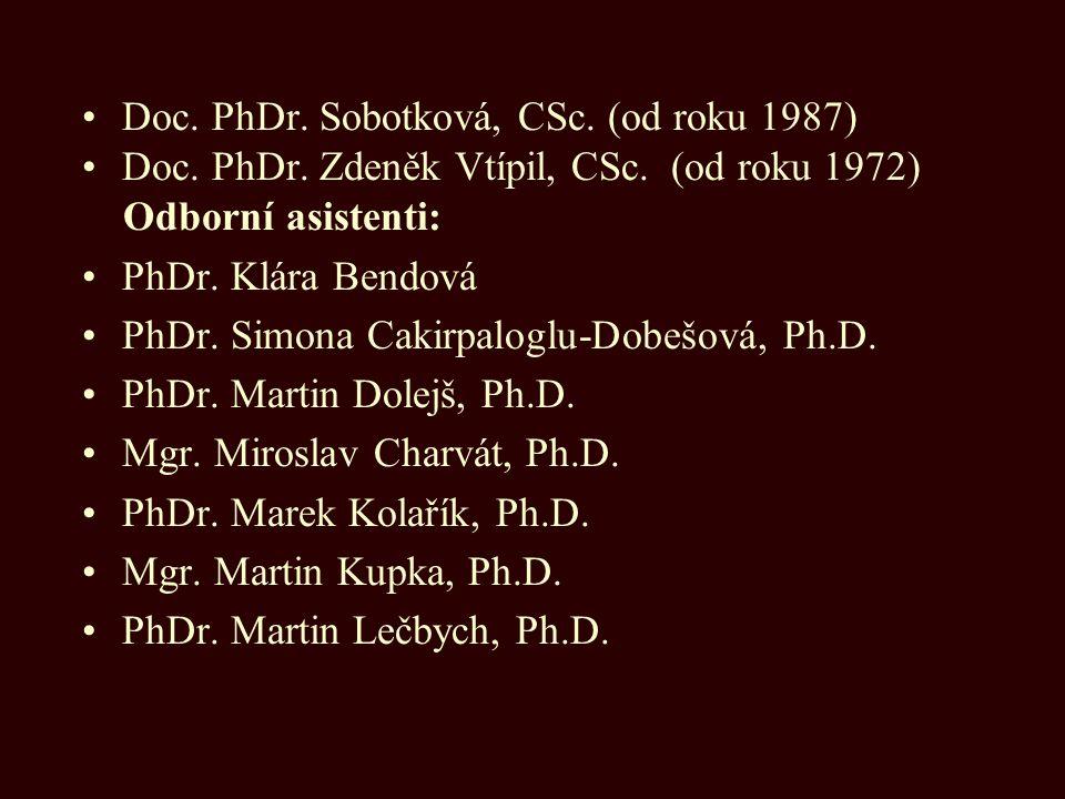 Doc. PhDr. Sobotková, CSc. (od roku 1987) Doc. PhDr. Zdeněk Vtípil, CSc. (od roku 1972) Odborní asistenti: PhDr. Klára Bendová PhDr. Simona Cakirpal