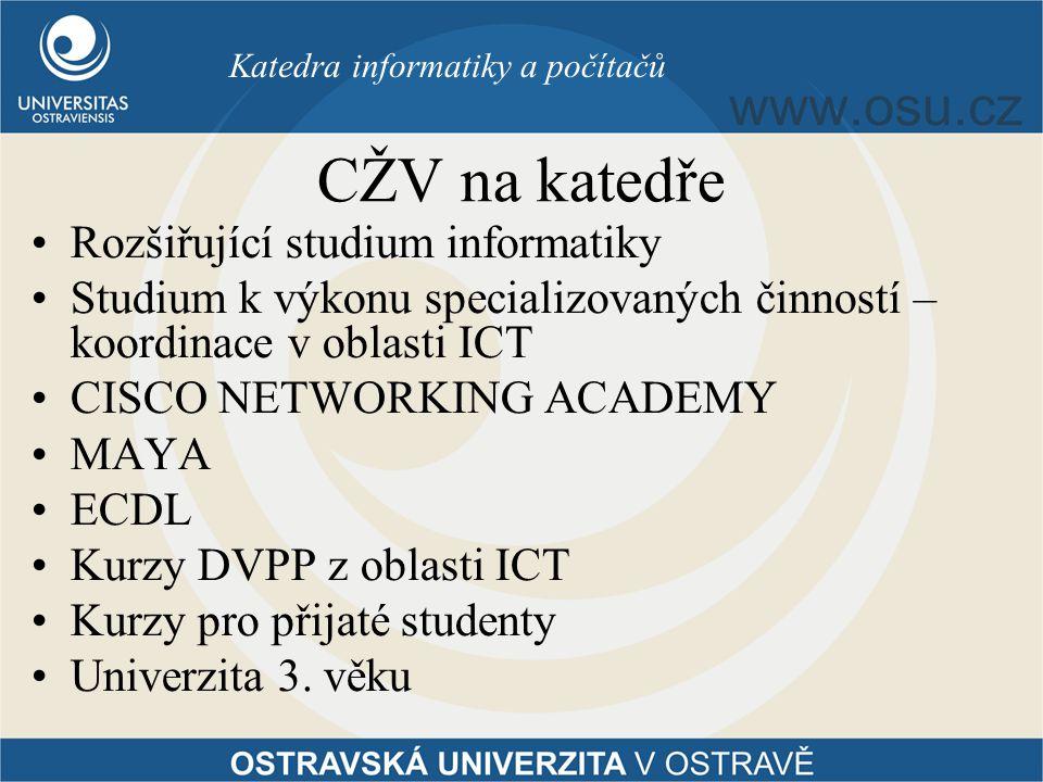 CŽV na katedře Rozšiřující studium informatiky Studium k výkonu specializovaných činností – koordinace v oblasti ICT CISCO NETWORKING ACADEMY MAYA ECDL Kurzy DVPP z oblasti ICT Kurzy pro přijaté studenty Univerzita 3.