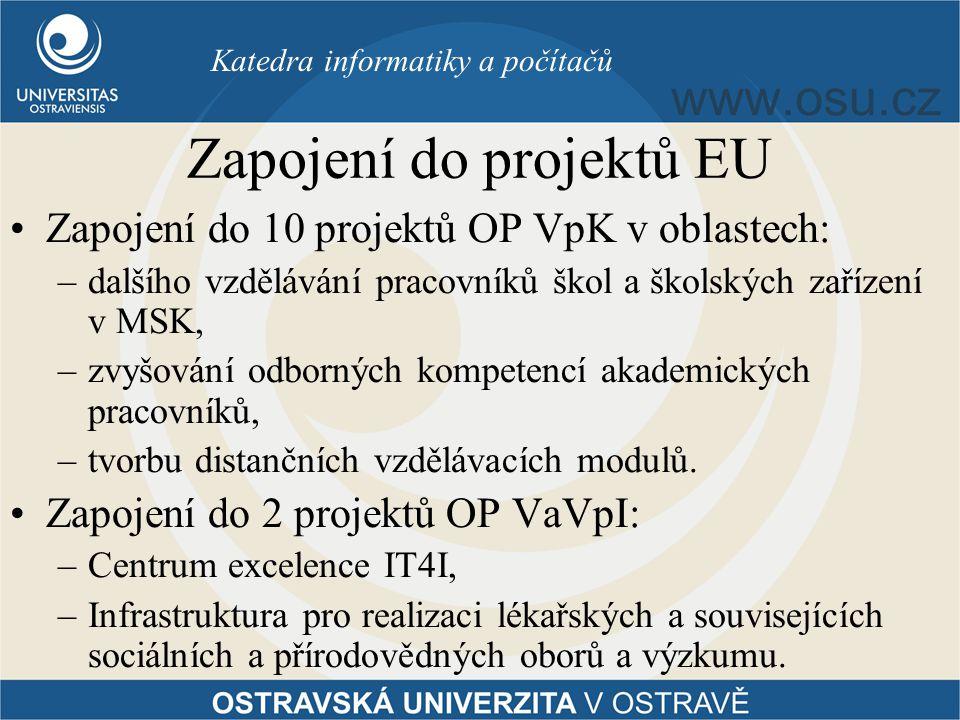 Zapojení do projektů EU Zapojení do 10 projektů OP VpK v oblastech: –dalšího vzdělávání pracovníků škol a školských zařízení v MSK, –zvyšování odborných kompetencí akademických pracovníků, –tvorbu distančních vzdělávacích modulů.