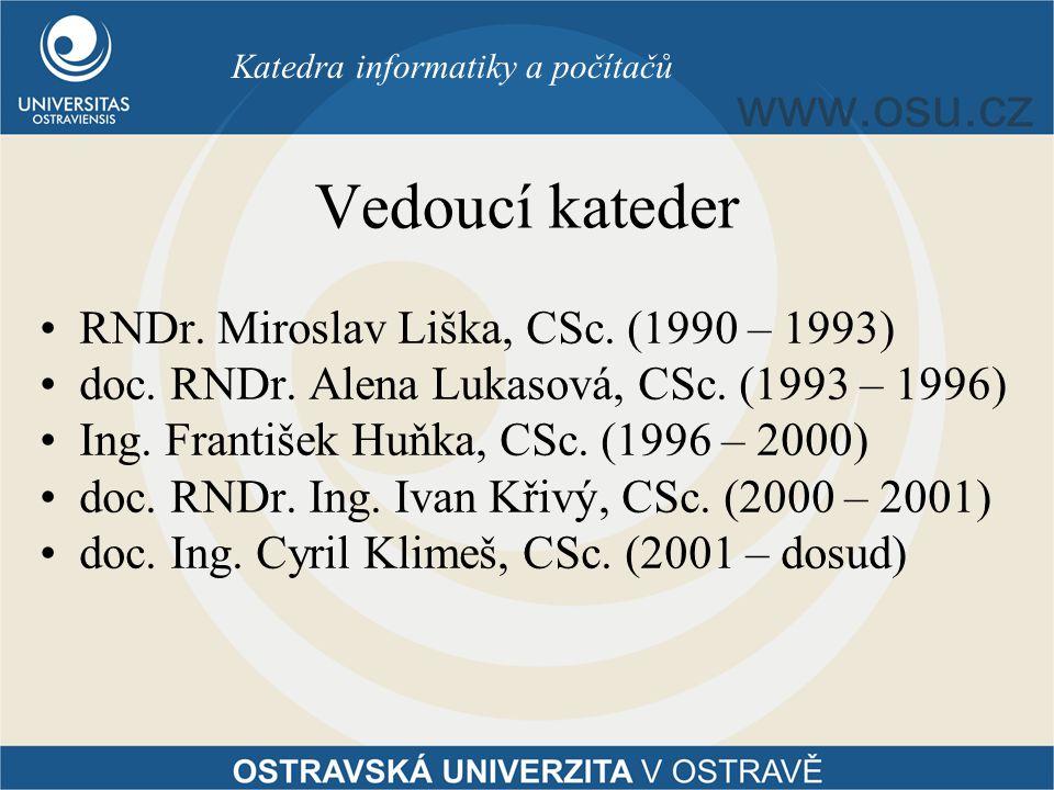 Vedoucí kateder RNDr. Miroslav Liška, CSc. (1990 – 1993) doc. RNDr. Alena Lukasová, CSc. (1993 – 1996) Ing. František Huňka, CSc. (1996 – 2000) doc. R