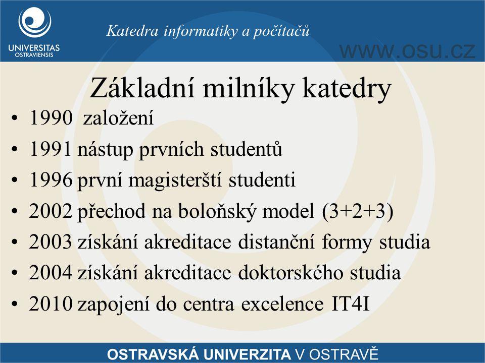Základní milníky katedry 1990 založení 1991 nástup prvních studentů 1996 první magisterští studenti 2002 přechod na boloňský model (3+2+3) 2003 získán