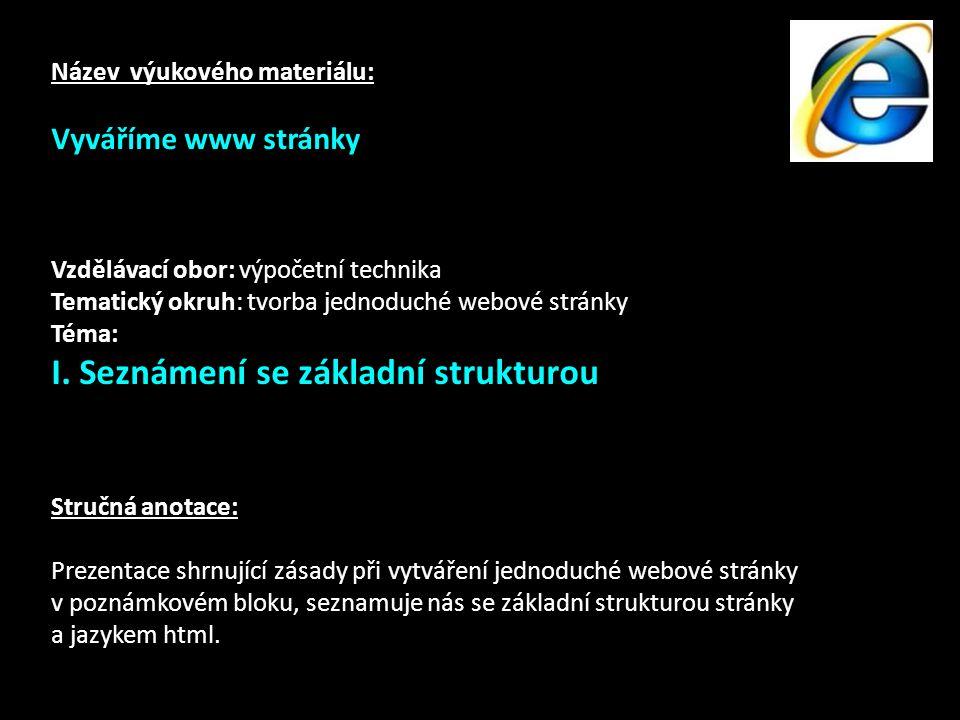 Název výukového materiálu: Vyváříme www stránky Vzdělávací obor: výpočetní technika Tematický okruh: tvorba jednoduché webové stránky Téma: I.
