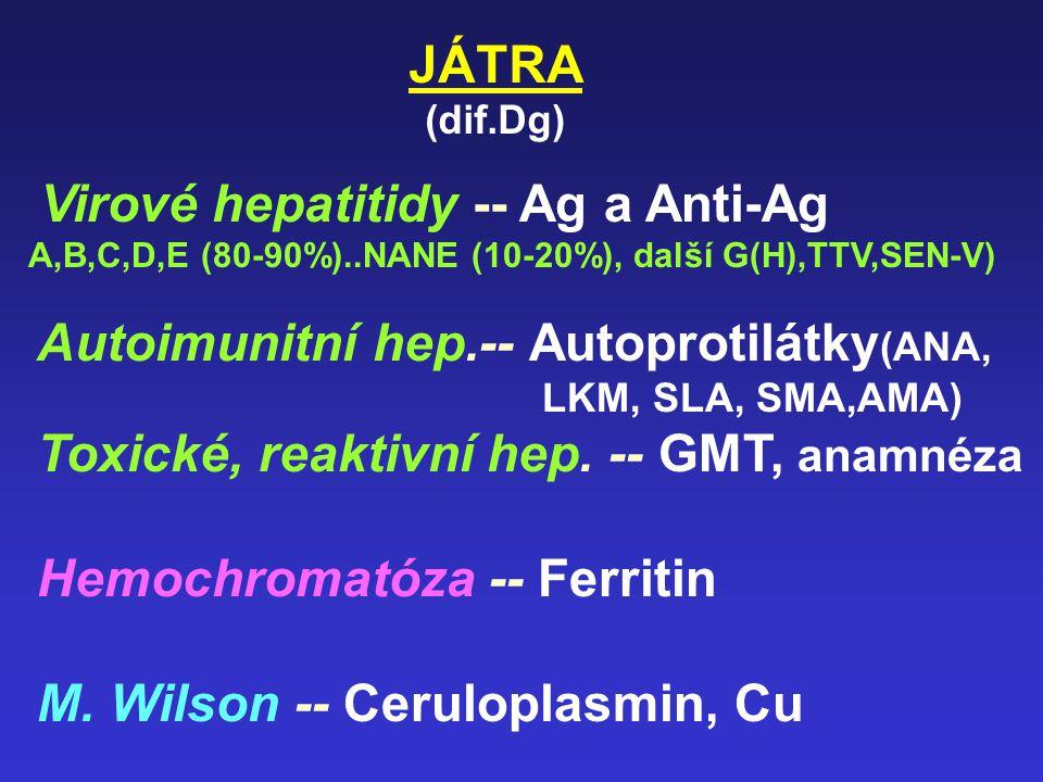 JÁTRA, žluč. Cesty Nové Glutathion-S-transferasa BB (citlivý test) m-AST mass (spec. pro nekrózu) Hyaluronová kys., laminin (fibróza) Delta-bilirubin