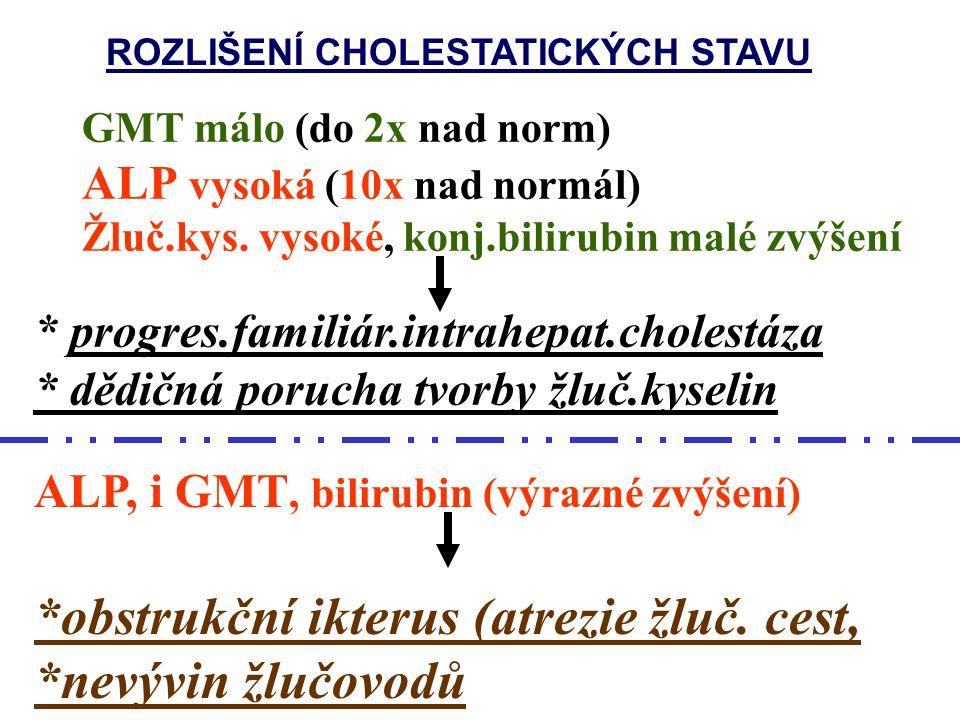 Diferenciální DG.cholestázy ALP i GMT vysoké (nad 10 ukat/l) * biliární atrézie * jiná obstrukce * primární deficience žlučovodů * deficience alfa-1-a