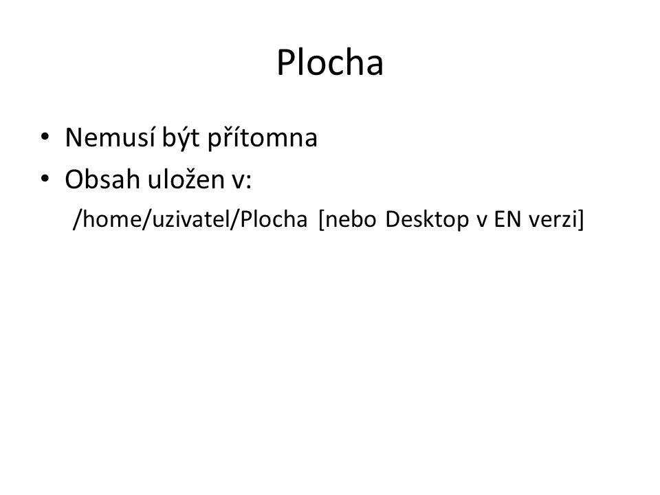 Plocha Nemusí být přítomna Obsah uložen v: /home/uzivatel/Plocha [nebo Desktop v EN verzi]