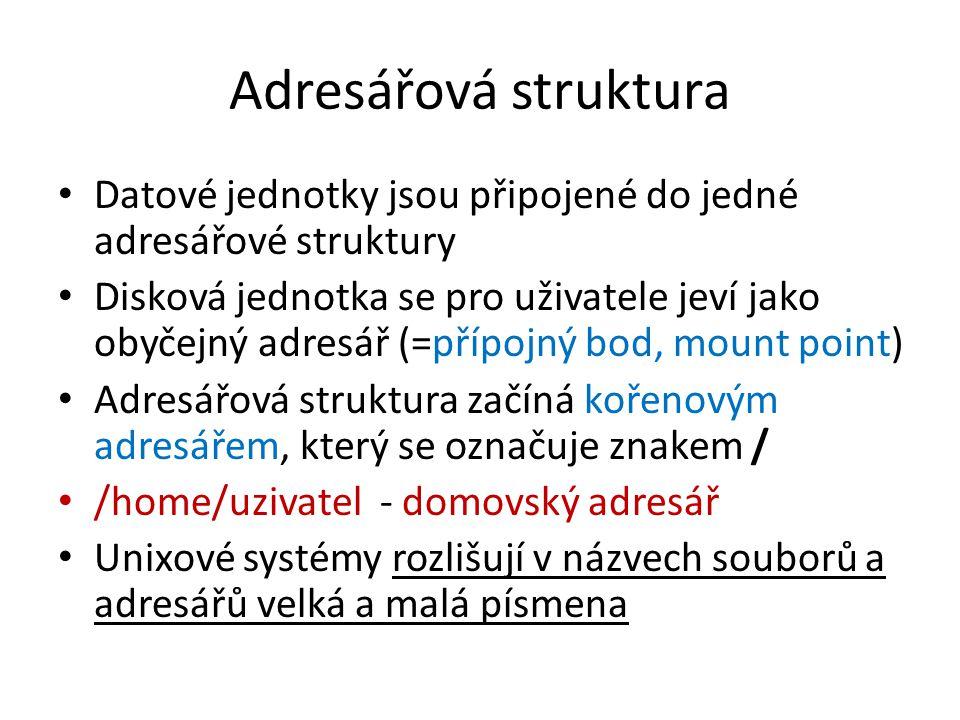 Adresářová struktura Datové jednotky jsou připojené do jedné adresářové struktury Disková jednotka se pro uživatele jeví jako obyčejný adresář (=přípo