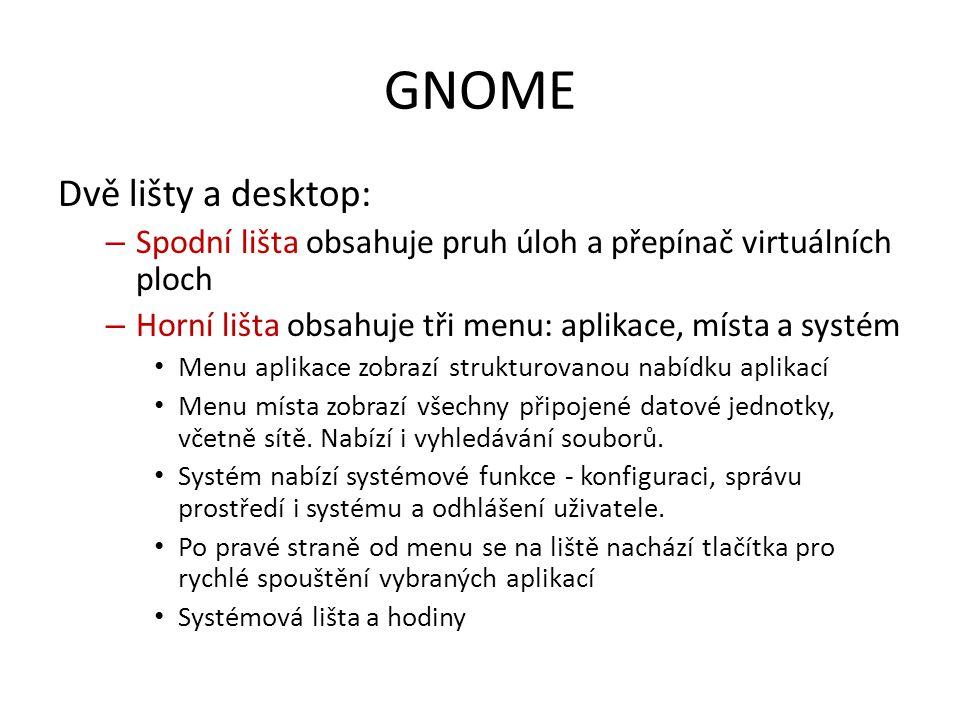 GNOME Dvě lišty a desktop: – Spodní lišta obsahuje pruh úloh a přepínač virtuálních ploch – Horní lišta obsahuje tři menu: aplikace, místa a systém Me