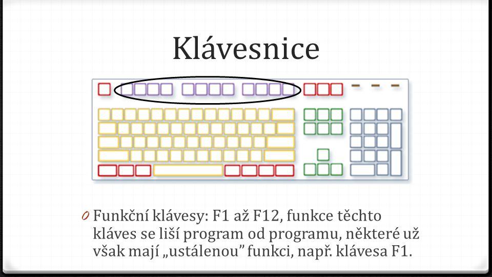 """Klávesnice 0 Funkční klávesy: F1 až F12, funkce těchto kláves se liší program od programu, některé už však mají """"ustálenou"""" funkci, např. klávesa F1."""
