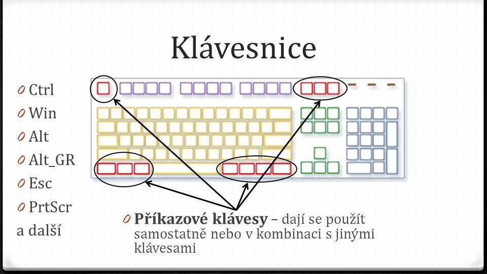 Klávesnice 0 Příkazové klávesy – dají se použít samostatně nebo v kombinaci s jinými klávesami 0 Ctrl 0 Win 0 Alt 0 Alt_GR 0 Esc 0 PrtScr a další