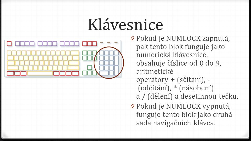 Klávesnice 0 Pokud je NUMLOCK zapnutá, pak tento blok funguje jako numerická klávesnice, obsahuje číslice od 0 do 9, aritmetické operátory + (sčítání)