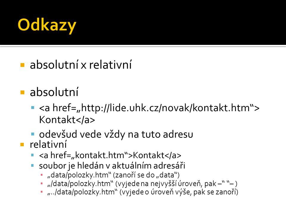 """ absolutní x relativní  absolutní  Kontakt  odevšud vede vždy na tuto adresu  relativní  Kontakt  soubor je hledán v aktuálním adresáři ▪ """"data/polozky.htm (zanoří se do """"data ) ▪ """"/data/polozky.htm (vyjede na nejvyšší úroveň, pak – – ) ▪ """"../data/polozky.htm (vyjede o úroveň výše, pak se zanoří)"""