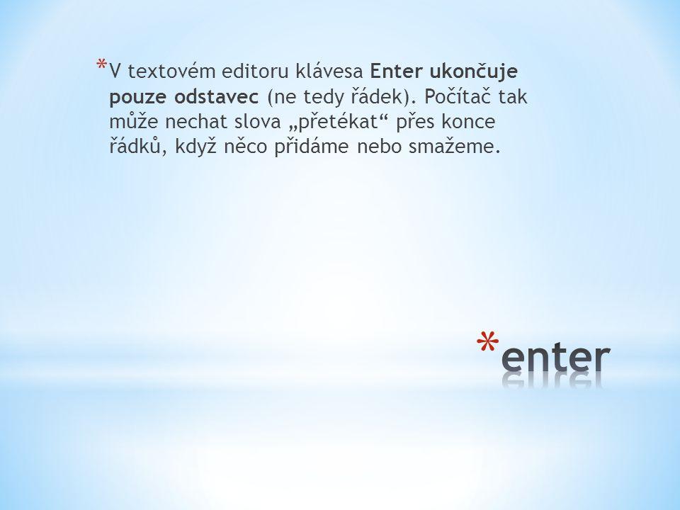 """* V textovém editoru klávesa Enter ukončuje pouze odstavec (ne tedy řádek). Počítač tak může nechat slova """"přetékat"""" přes konce řádků, když něco přidá"""