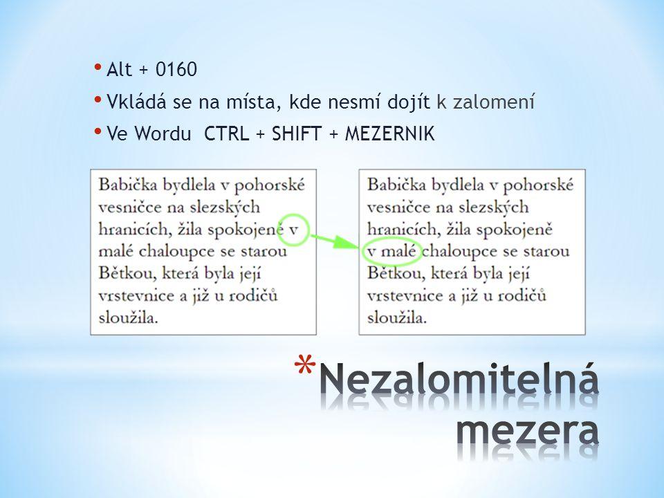 Alt + 0160 Vkládá se na místa, kde nesmí dojít k zalomení Ve Wordu CTRL + SHIFT + MEZERNIK