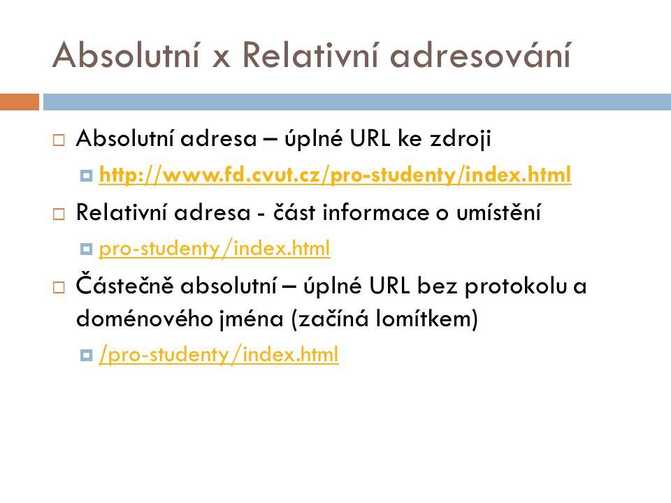 Absolutní x Relativní adresování  Absolutní adresa – úplné URL ke zdroji  http://www.fd.cvut.cz/pro-studenty/index.html http://www.fd.cvut.cz/pro-st