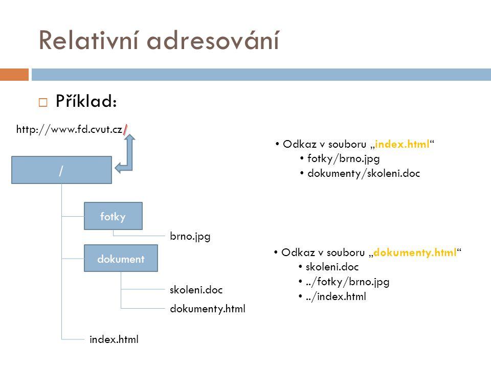"""Relativní adresování  Příklad: / fotky dokument index.html brno.jpg skoleni.doc Odkaz v souboru """"index.html"""" fotky/brno.jpg dokumenty/skoleni.doc dok"""