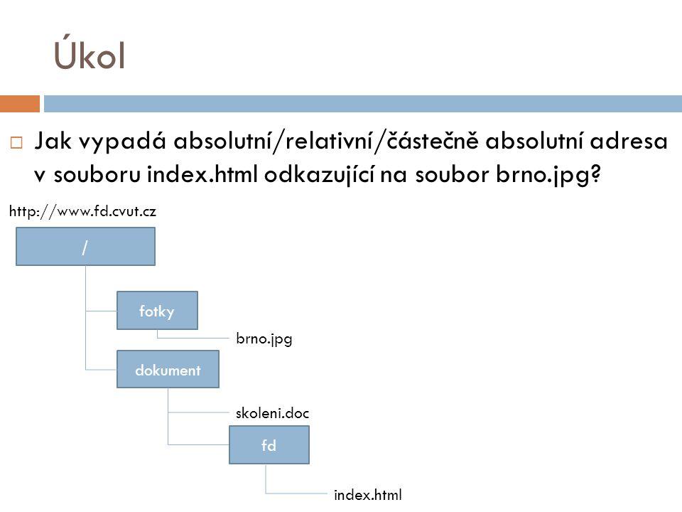 Úkol  Jak vypadá absolutní/relativní/částečně absolutní adresa v souboru index.html odkazující na soubor brno.jpg? / fotky dokument index.html brno.j