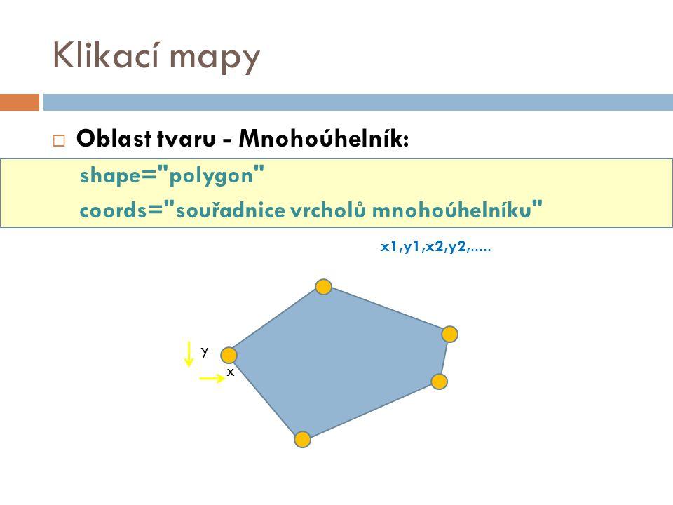 Klikací mapy  Oblast tvaru - Mnohoúhelník: shape=