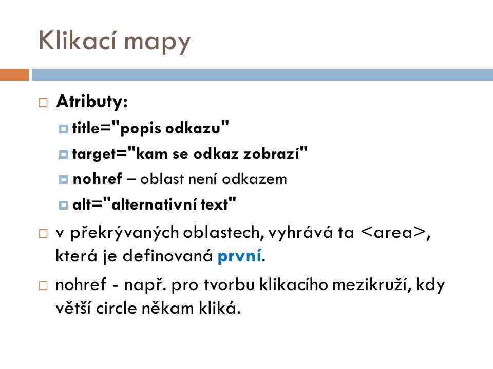 Klikací mapy  Atributy:  title=