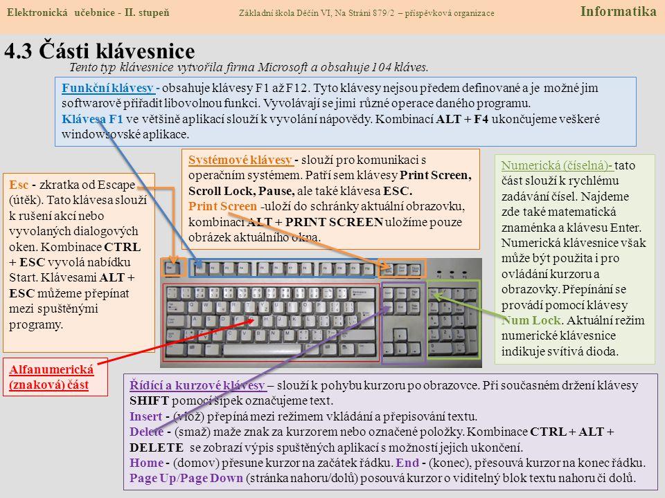 Aby počítač správně fungoval, musí obsahovat čtyři části: skříň počítače (vlastní počítač), monitor, klávesnici (a myš). Klávesnice je vstupní zařízen