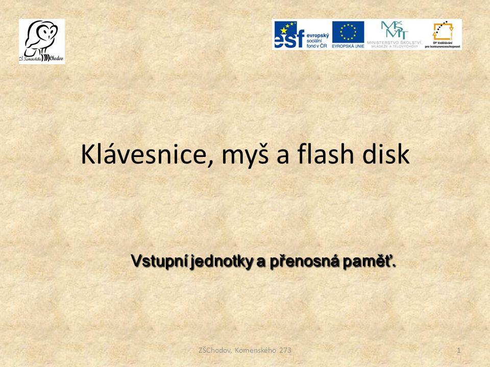 Klávesnice, myš a flash disk 1ZŠChodov, Komenského 273 Vstupní jednotky a přenosná paměť. Vstupní jednotky a přenosná paměť.