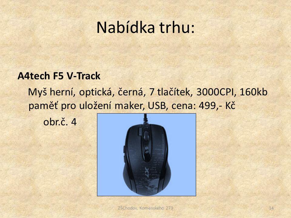Nabídka trhu: A4tech F5 V-Track Myš herní, optická, černá, 7 tlačítek, 3000CPI, 160kb paměť pro uložení maker, USB, cena: 499,- Kč obr.č. 4 ZŠChodov,