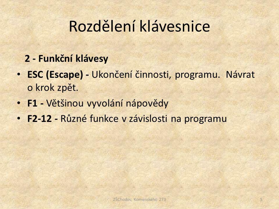 Rozdělení klávesnice ZŠChodov, Komenského 2735 2 - Funkční klávesy ESC (Escape) - Ukončení činnosti, programu. Návrat o krok zpět. F1 - Většinou vyvol