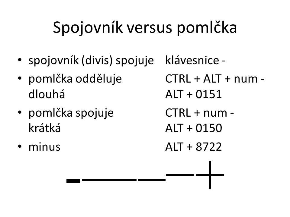 Spojovník versus pomlčka spojovník (divis) spojujeklávesnice - pomlčka oddělujeCTRL + ALT + num - dlouháALT + 0151 pomlčka spojujeCTRL + num - krátkáA