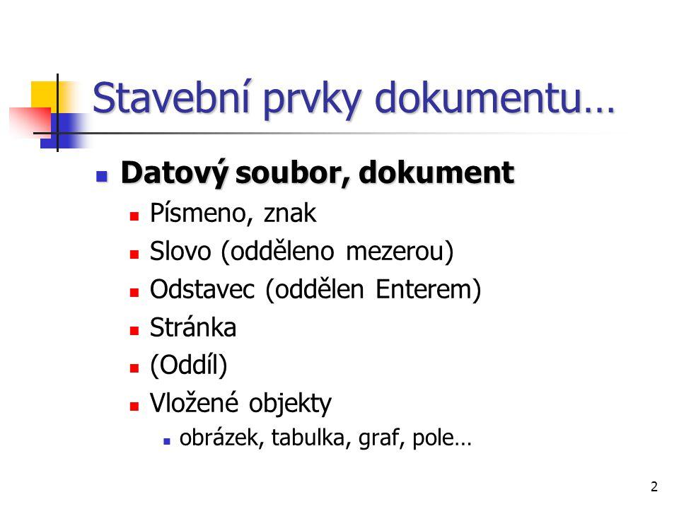 2 Stavební prvky dokumentu… Datový soubor, dokument Datový soubor, dokument Písmeno, znak Slovo (odděleno mezerou) Odstavec (oddělen Enterem) Stránka