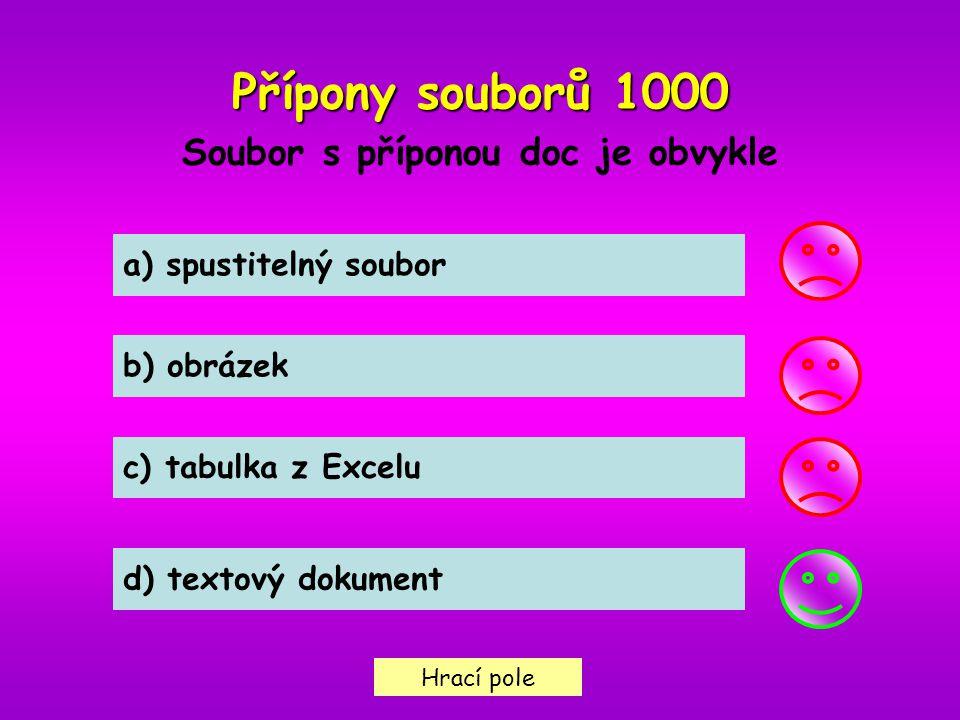 Hrací pole Přípony souborů1000 Přípony souborů 1000 Soubor s příponou doc je obvykle a) spustitelný soubor b) obrázek c) tabulka z Excelu d) textový d