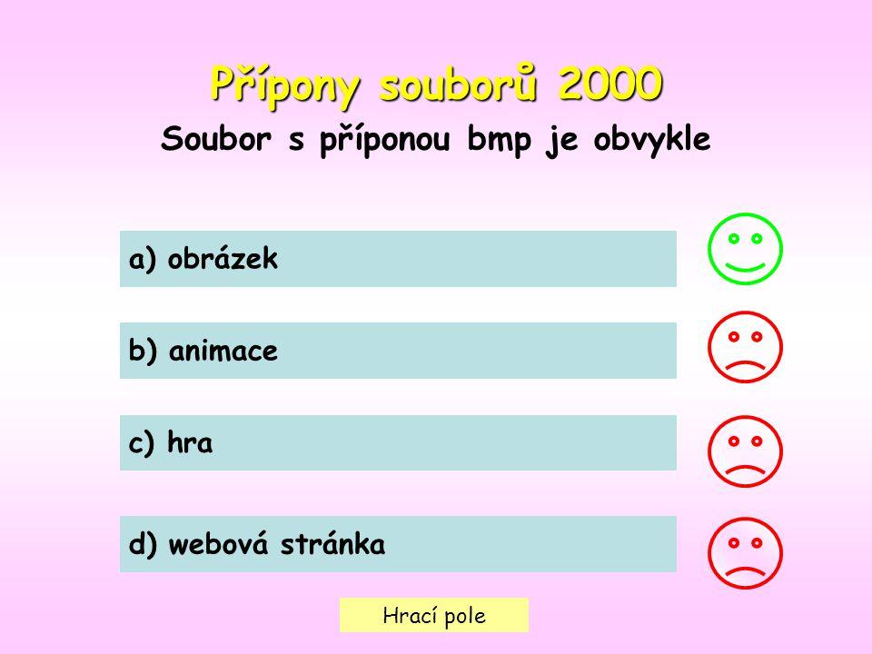 Hrací pole Přípony souborů2000 Přípony souborů 2000 Soubor s příponou bmp je obvykle a) obrázek b) animace c) hra d) webová stránka