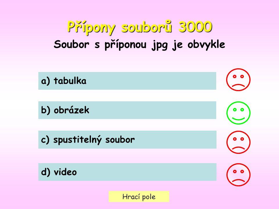 Hrací pole Přípony souborů3000 Přípony souborů 3000 Soubor s příponou jpg je obvykle a) tabulka b) obrázek c) spustitelný soubor d) video
